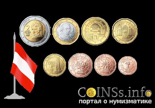Монеты евро и евроценты Австрии