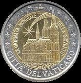 2 евро Ватикан 2005 год