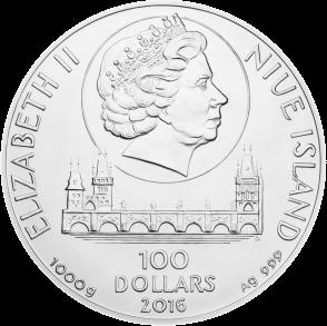 Чехия монета 100$ 700-летия Карла IV аверс