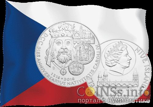 Чехия монета 100$ 700-летия Карла IV