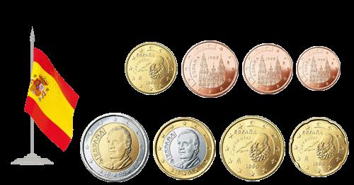 Монеты евро и евроценты Испания 1999-2009
