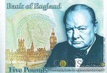 новые 5 фунтов-стерлингов Великобритании