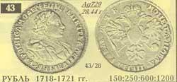 монета рубль 1718 года