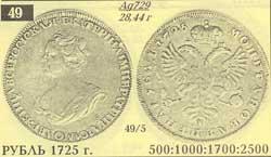Монета рубль 1725 траурный