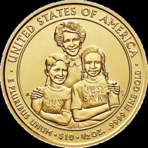 США монета 10 долларов Нэнси Рейган реверс
