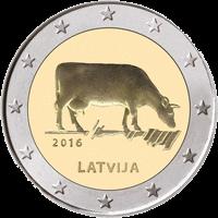Латвия - 2 евро с коровой реверс