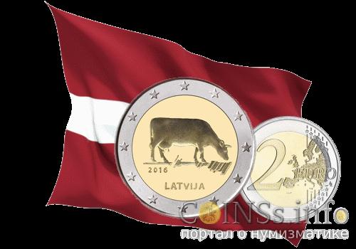 Латвия - 2 евро с коровой