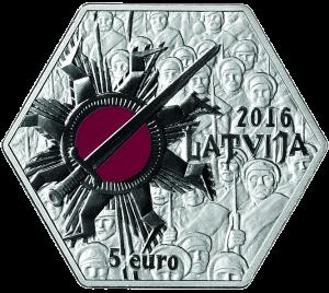 Латвия 5 евро Рождественские бои (Ziemassvētku kaujas) аверс