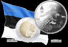 Банк Эстонии 2 евро - Дорога Эстонии к независимости, 10 евро зимние Олимпийские игры в Пхенчхане