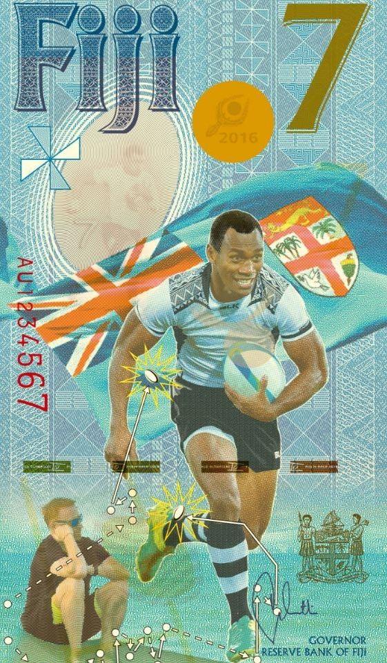 Банкнота 7 долларов была выпущена на Фиджи по случаю победы сборной страны по регби-7 на Олимпийских играх в Рио-де-Жанейро 2016