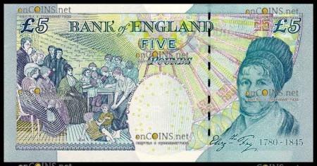 Элизабет Фрай на банкноте номиналом 5 фунтов стерлингов Великобритания