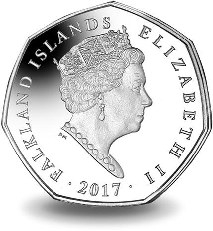 Фолклендские острова, 50 центов, хохлатый пингвин, аверс