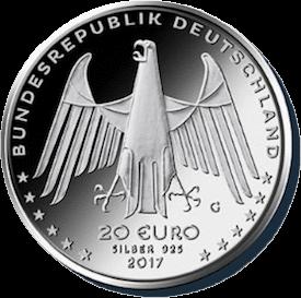 Германия, 20 евро, Беговая машина Карла Дреза, серебро, аверс