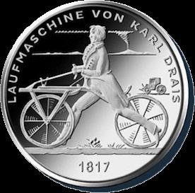 Германия, 20 евро, Беговая машина Карла Дреза, серебро, реверс