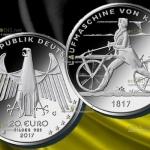 Германия, 20 евро, Беговая машина Карла Дреза, серебро