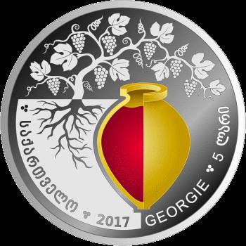 Грузия, 5 лари виноградная лоза, аверс