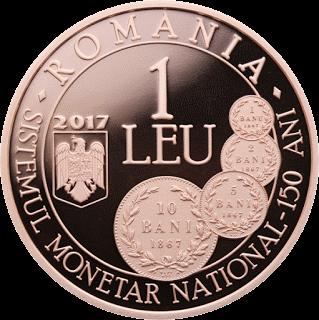 Румыния, 1 лей, 150-летию Закона О создании новой денежной системы - аверс