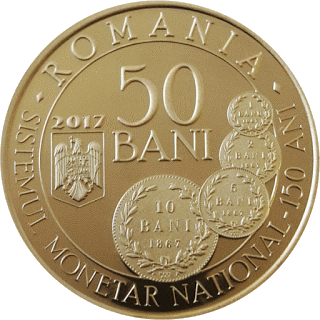 Румыния, 50 бани, 150-летию Закона О создании новой денежной системы - аверс