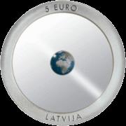 Банк Латвии монета 5 евро Zeme, аверс
