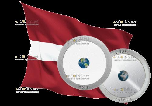 Банк Латвии реализует второй тираж монет 5 евро Zeme