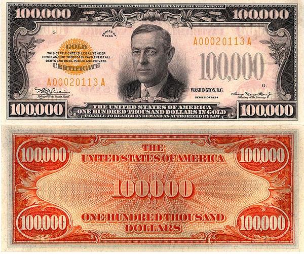 банкнота 100000 долларов США