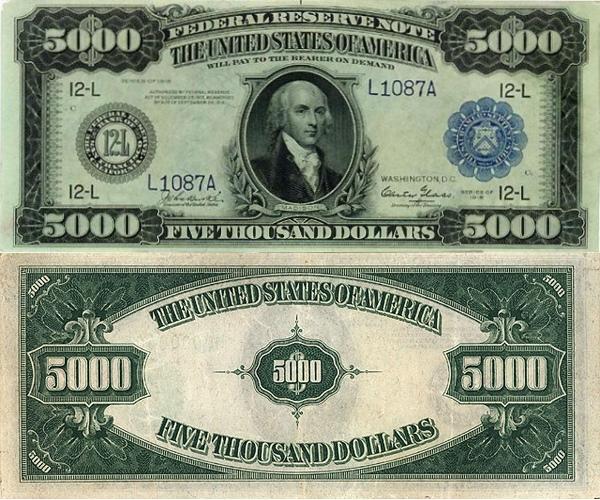 банкнота 5000 долларов США