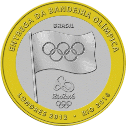 Бразиия - монета 1 бразильский реал, передача олимпийского флага Лондон - Рио-де-Жанейро, аверс