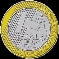Бразиия - монета 1 бразильский реал, передача олимпийского флага Лондон - Рио-де-Жанейро, реверс