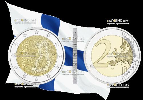 Финляндия монета 2 евро 100 лет независимости Финляндии
