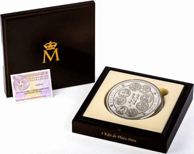 Испания монета 300 евро история доллара, подарочная упаковка