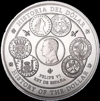 Испания монета 300 евро история доллара, серебро - реверс