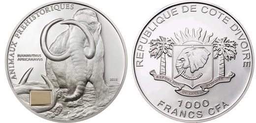 Кот-д'Ивуар 1 000 франков с бивнем 2010 год, серебро