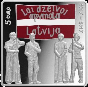 Латвия 5 евро Латгальский конгресс, аверс