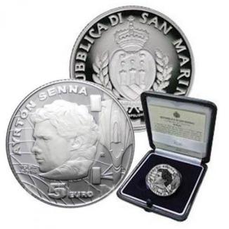 Монако монета 5 евро Айртон Сенна 2014 год, серебро