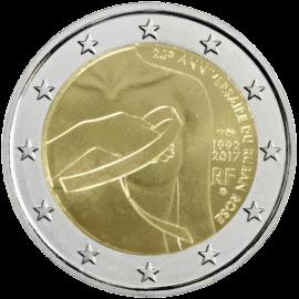 монета 2 евро 25 лет Розовой ленты, реверс