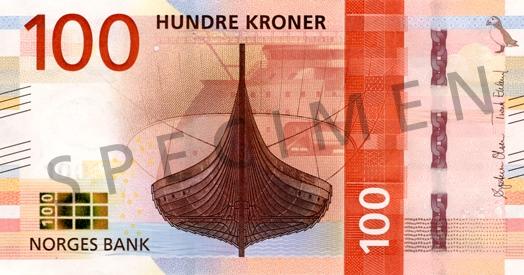 Норвегия банкнота 100 крон, лицевая сторона