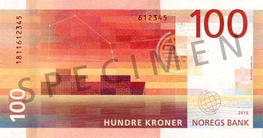 Норвегия банкнота 100 крон, оборотная сторона
