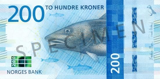 Норвегия банкнота 200 крон, лицевая сторона