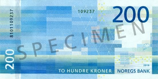 Норвегия банкнота 200 крон, оборотная сторона
