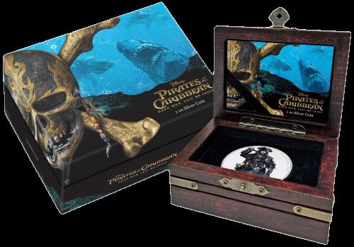 Новая Зеландия - 2 доллара Пираты Карибского моря V-я часть, подарочная упаковка