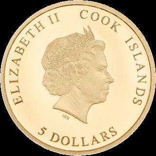 Острока Кука - монета 5 долларов В память принцессы Дианы, золото, аверс