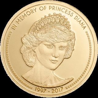 Острока Кука - монета 5 долларов В память принцессы Дианы, золото, реверс