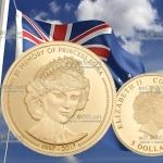 Острока Кука - монета 5 долларов В память принцессы Дианы, золото