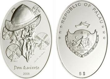 Палау - 5 долларов Дон Кихот, 2008 год, серебро