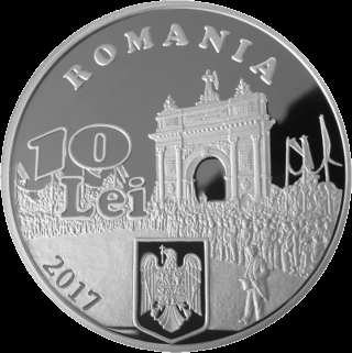 Румыния монета 10 лей 40 лет независимости Румынии, серебро, аверс