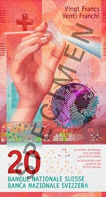 Швейцария - банкнота 20 франков, лицевая сторона