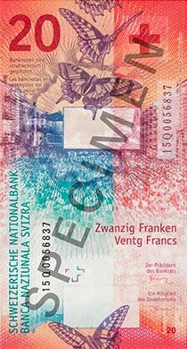 Швейцария - банкнота 20 франков, обратная сторона