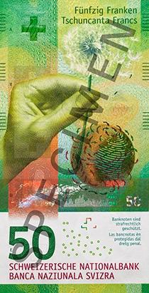 Швейцария - банкнота 50 франков, лицевая сторона