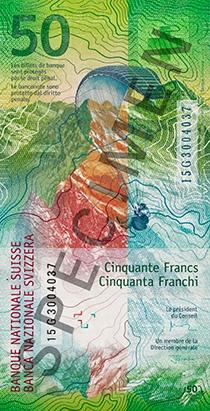 Швейцария - банкнота 50 франков, обратная сторона