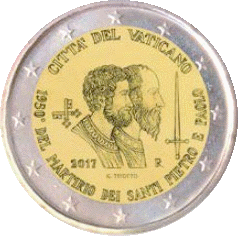 Ватикан - 2 евро Святые Петр и Павел, реверс